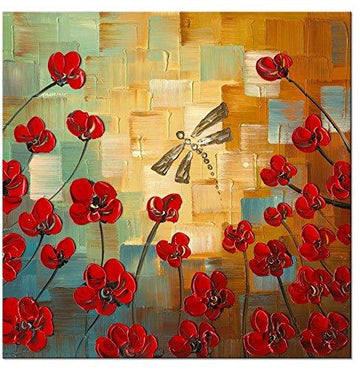 Wieco Art - Dragonfly Modern Flowers Artwork 100% Hand Painted Stretched and Framed Floral Oil Paintings on Canvas Wall Art Ready to Hang for Bedroom Kitchen Dining Room Home Decorations
