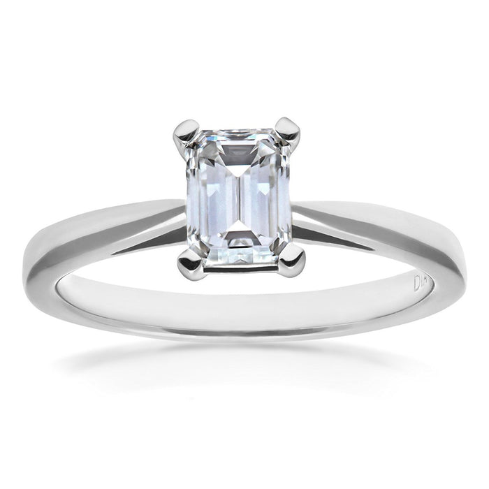 Naava Women's Platinum 4 Claw Tapered Solitaire Engagement Ring, E/VS1 EGL Certified Diamond, Emerald Cut, 0.90ct