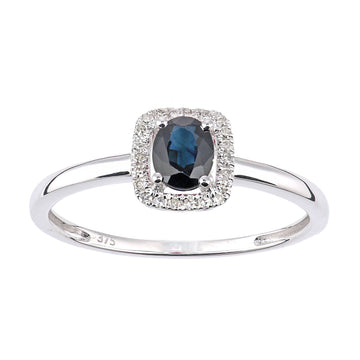 Naava 9ct White Gold Sapphire and Diamond Oval Gemstone Ring - Size M