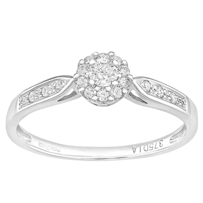 Naava 9ct White Gold Round 0.25ct Halo Diamond Engagement Ring - Size O