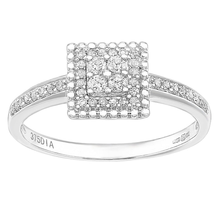Naava 9ct White Gold Square 0.25ct Halo Diamond Engagement Ring - Size P