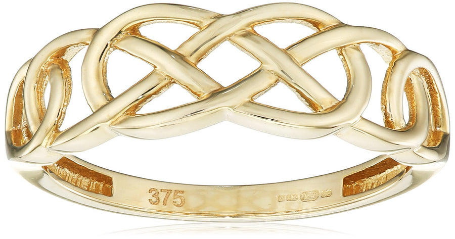 Elements Gold 9ct Yellow Gold Plain Celtic Pattern Ring - Size Q