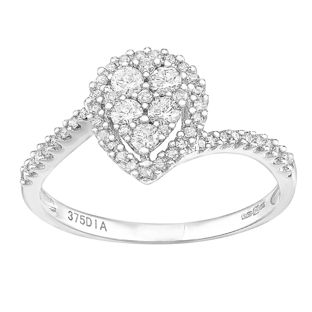 Naava 9ct White Gold Round Halo Diamond Solitaire Engagement Ring DgHqtiv