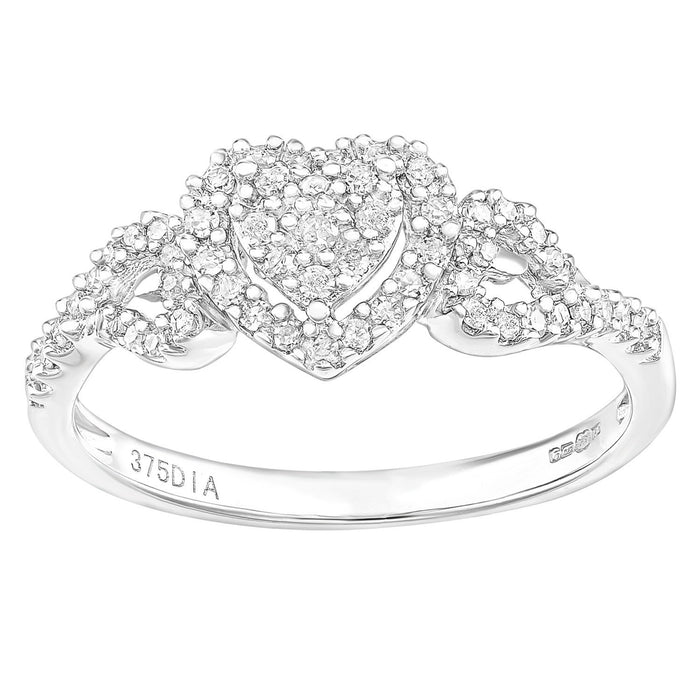 Naava 9ct White Gold Heart 0.25ct Halo Diamond Engagement Ring - Size K