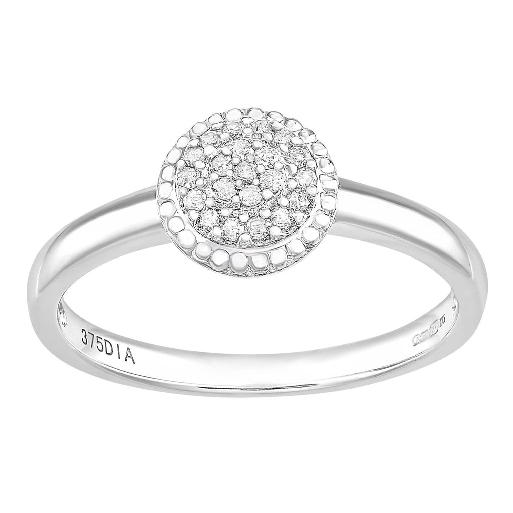 Naava 9ct White Gold Round 0.25ct Halo Diamond Engagement Ring OUh5H