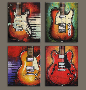 Music wall art Abstract guitar canvas prints art home decor for living room modern Still Life Pictures pictures 4 panel large posters HD printed painting Framed Ready to hang … (12x16inchx4pcs)