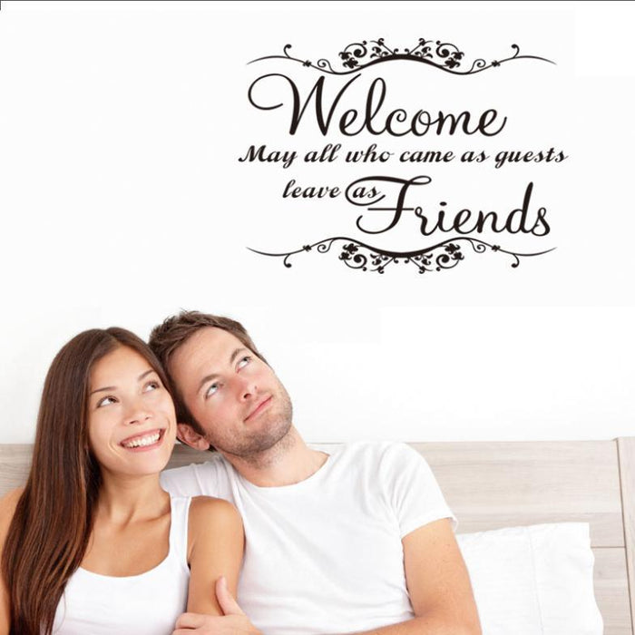 Welcome Friends Living Room Wall Stickers