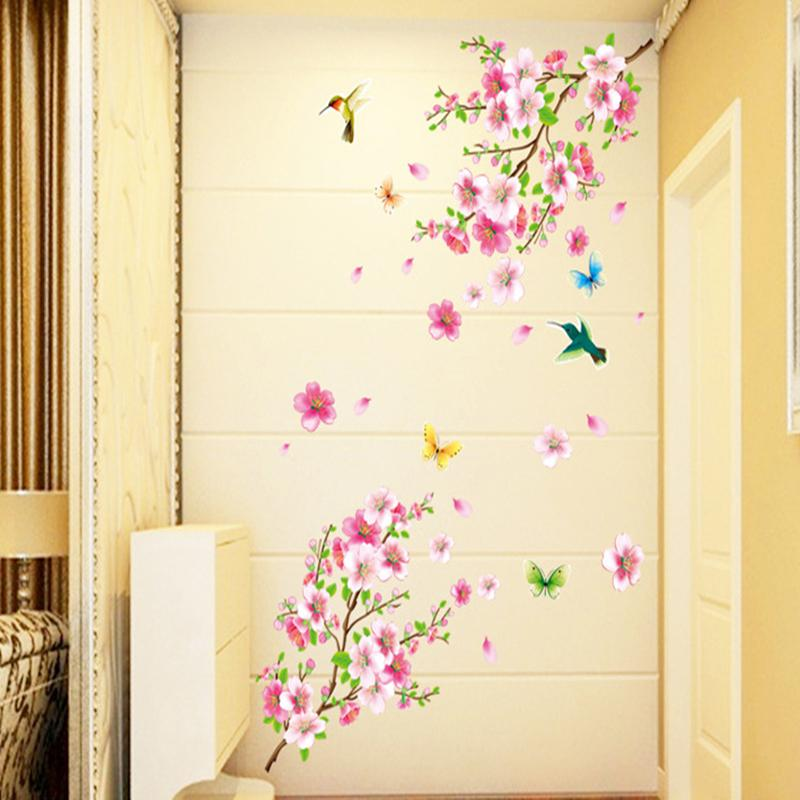 Pink Peach & Birds Wall Stickers