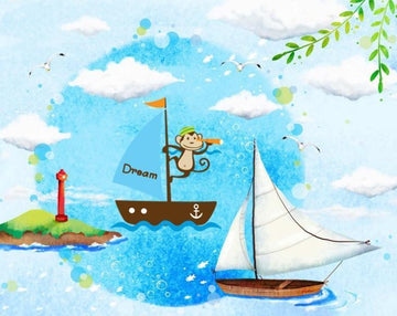 Monkey Dream Boating  Wall Stickers