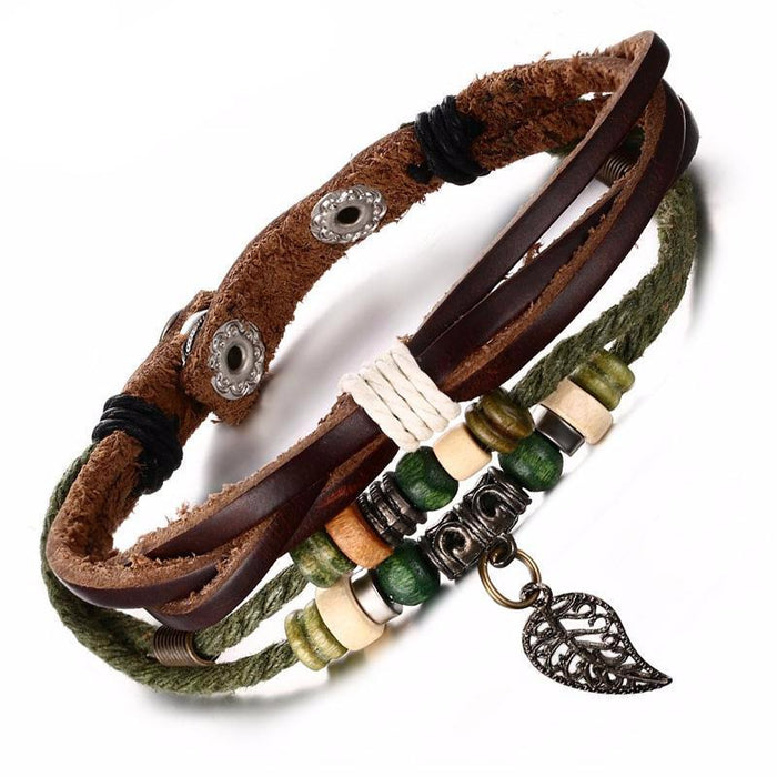 Leaf Beaded Leather Bracelet [8 Variants]