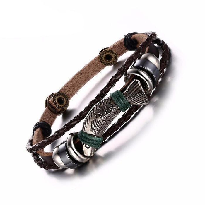 Silver Fish Leather Bracelet