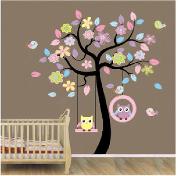 Owl Swing Children Wall Stickers