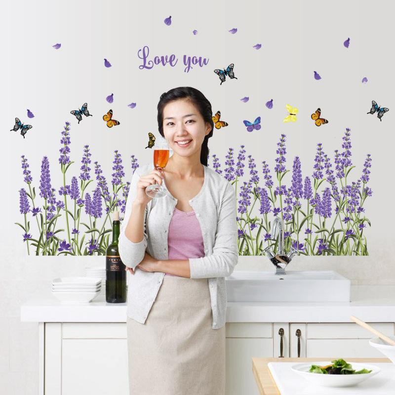 Lavender Baseboard Creative Flower Wall Sticker
