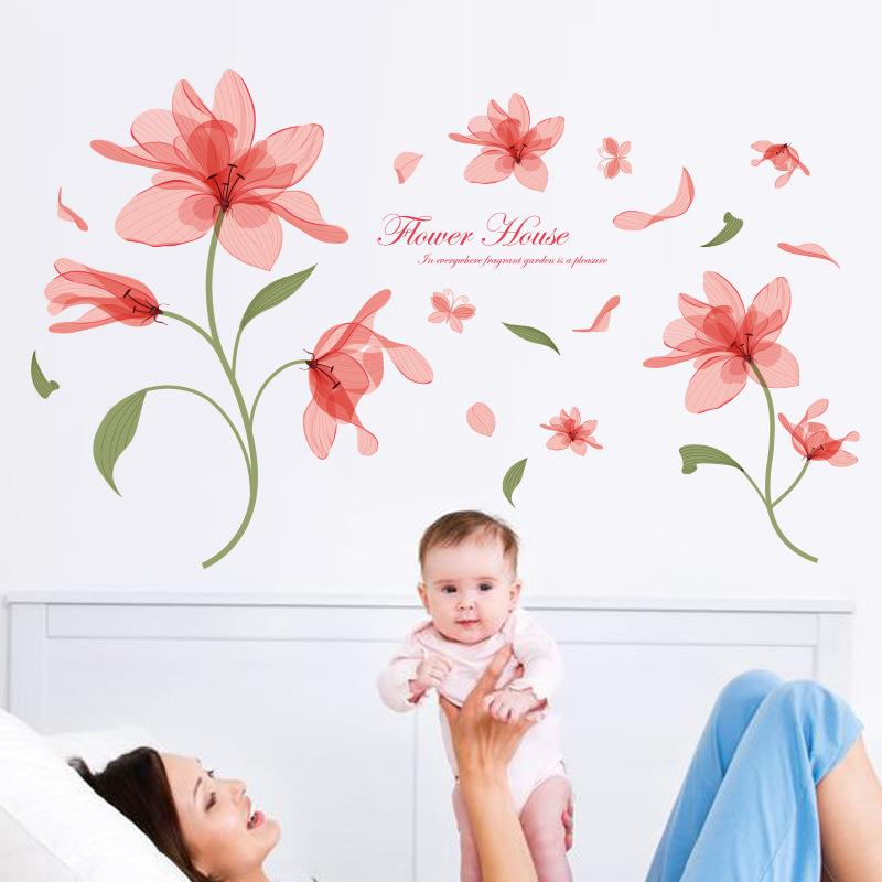 Elegant Pink Flowers Wall Stickers