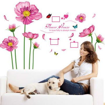 Pink Flowers Bedroom Wall Stickers