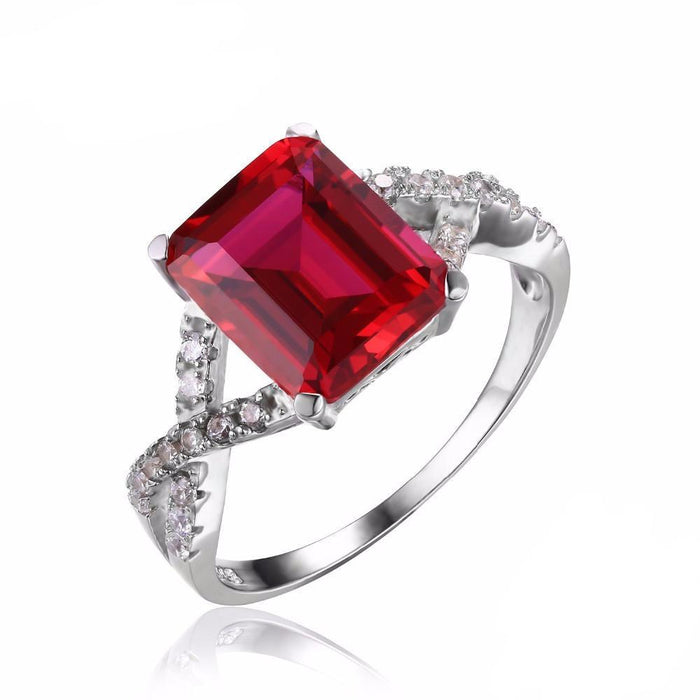 Adrienne Emerald Cut Ruby Ring