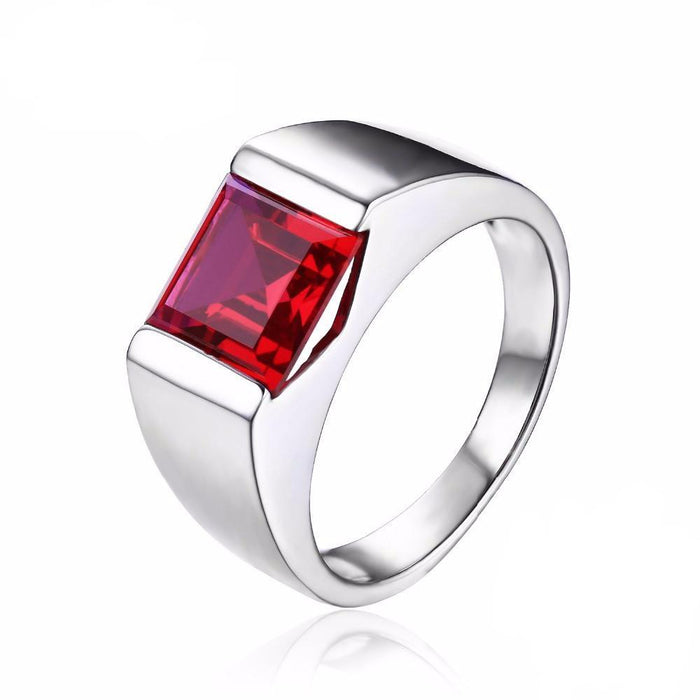 Adorlee Square Ruby Ring
