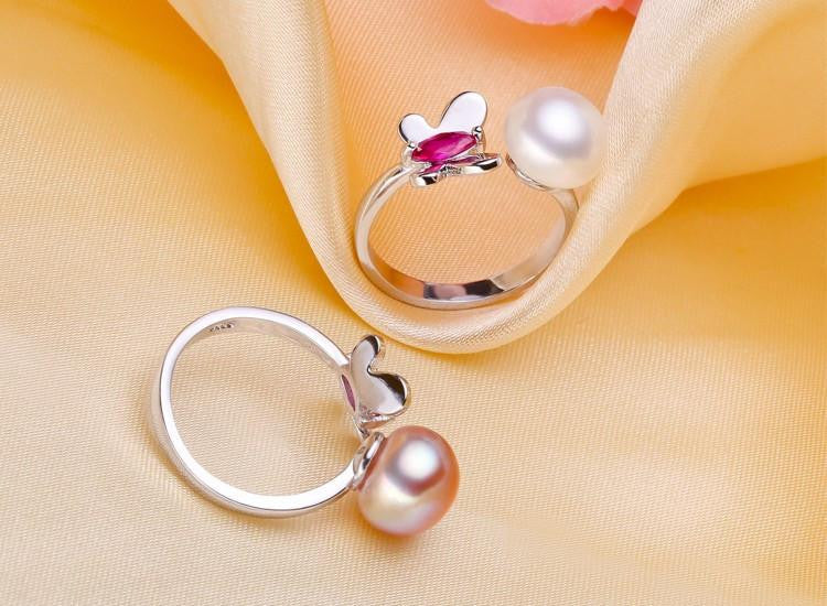 Ayaka Round Butterfly Pearl Ring