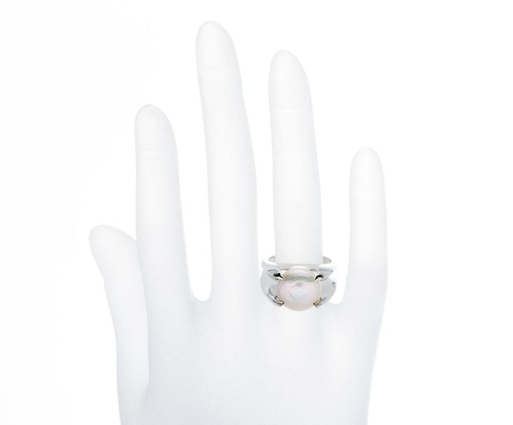 Kaiyo White Coin Pearl Ring