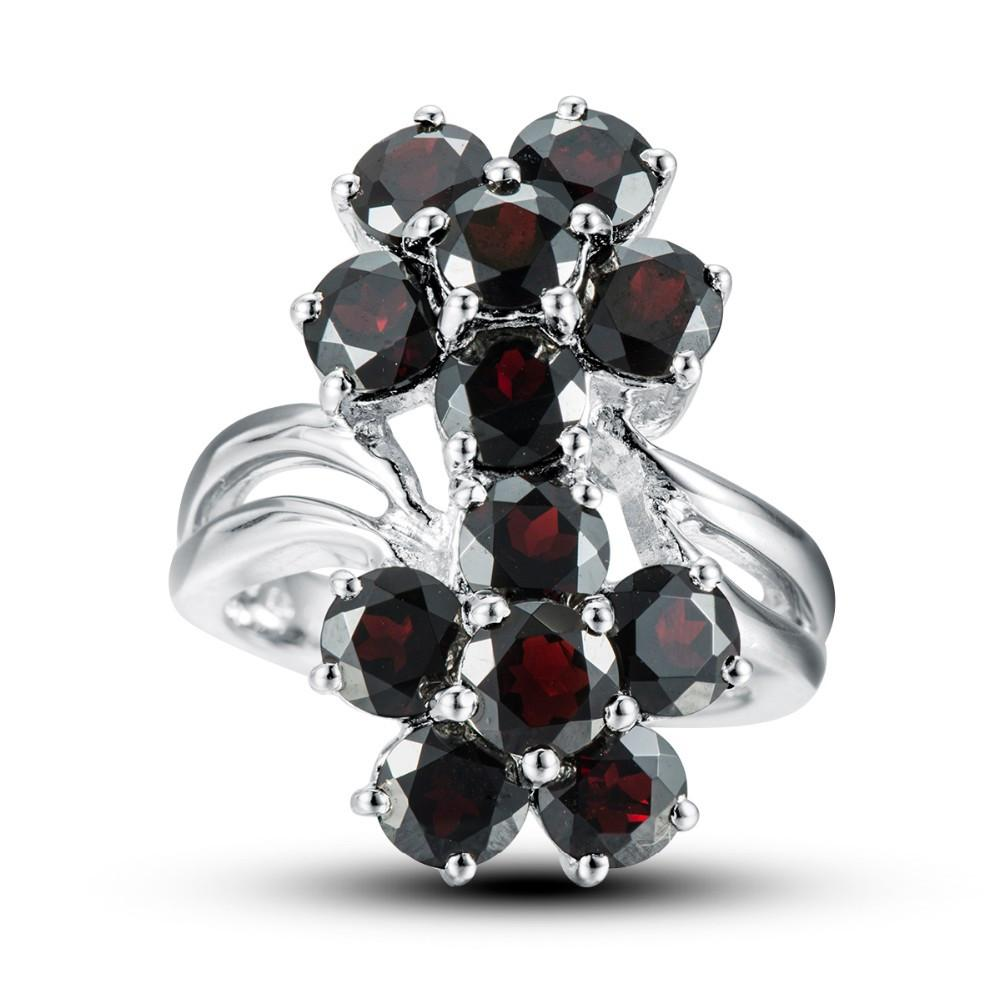 Kapitolina Round Flower Black Garnet Ring