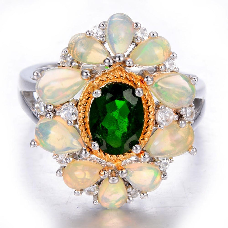 Chrome Diopside & Opal Ring