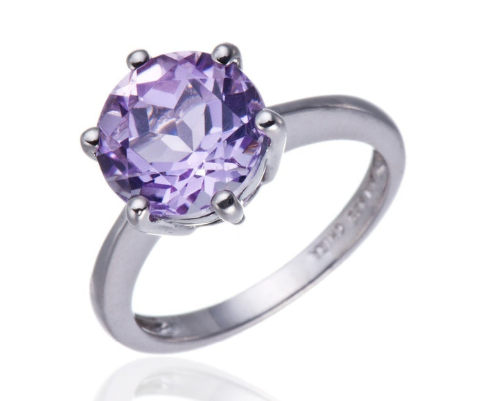 Antoray Solitaire Amethyst Ring