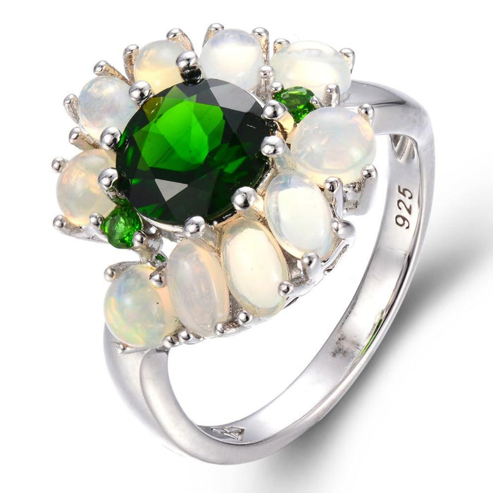 White Opal & Chrome Diopside Ring