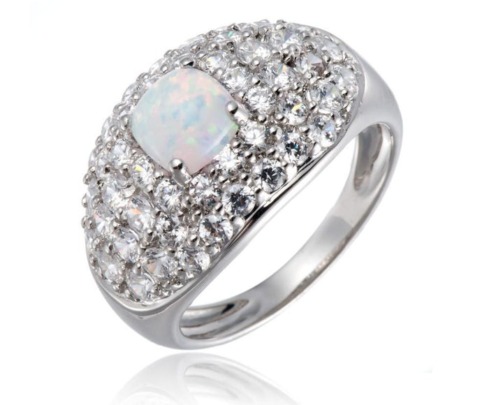 White Opal & Cubic Zirconia Ring