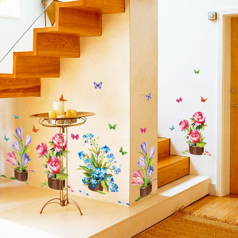 Hand-painted Potted Flowers Wall Sticker