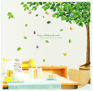 Green Leave Tree Butterfly Wall Sticker
