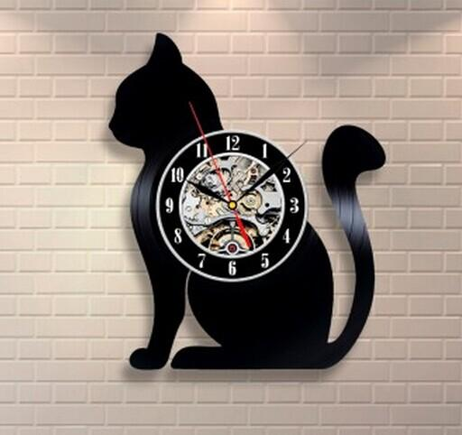 Black Cat Modern Vinyl Record Wall Clock
