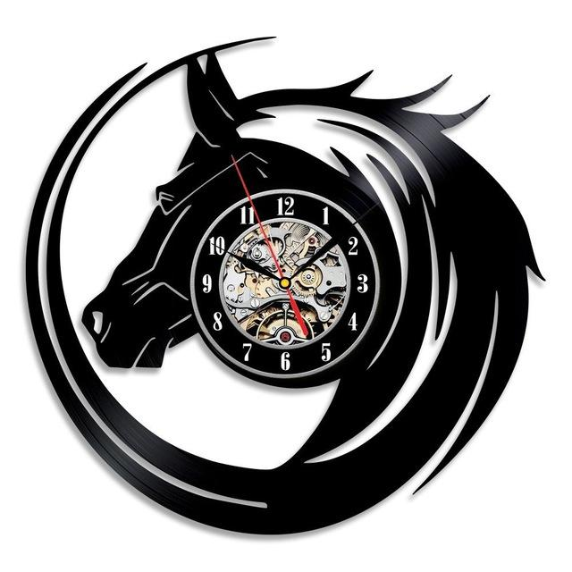 Black Horse Modern Vinyl Record Wall Clock
