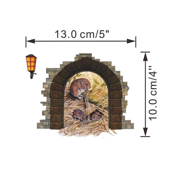Funny Mouse Hole Wall Stickers