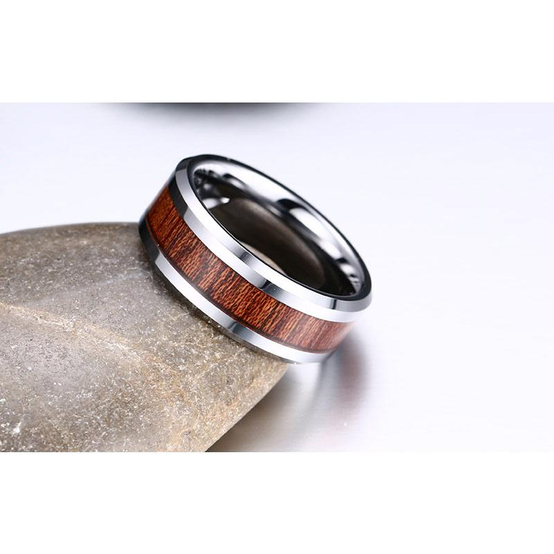 Retro Wood Grain Tungsten Carbide Ring