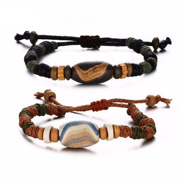 Braided Beads Leather Bracelet