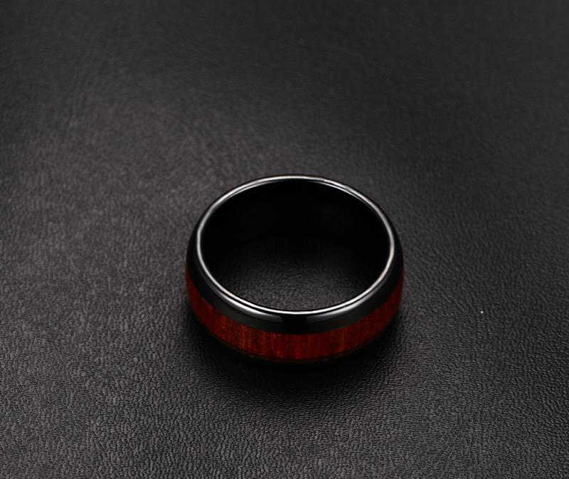 Wood Design Tungsten Carbide Ring