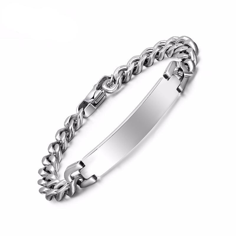 Free Engraving Metal Bangle Bracelet for Women & Men