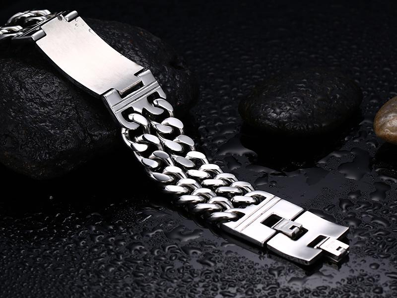 Double Chain Skull  Charm Men's Biker Bracelets