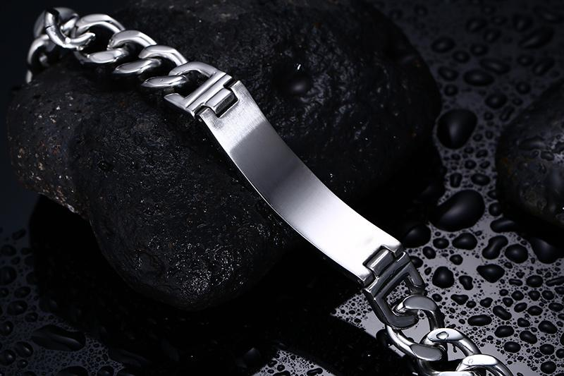 Classic Grid Design Stainless Steel Men's Bracelets