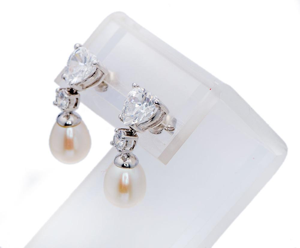 Clarice White Pearl & CZ Drop Earring
