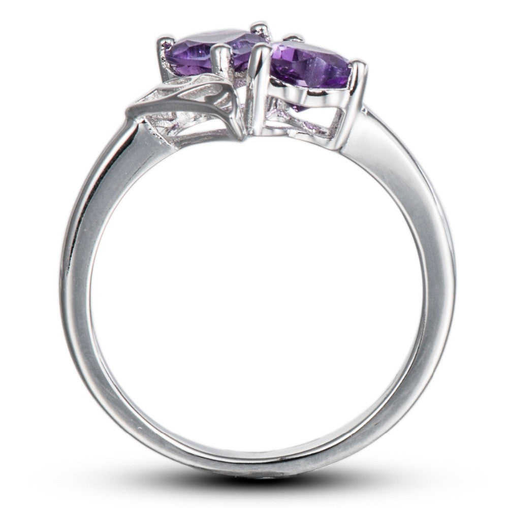 Aramyl Twin Hearts Amethyst Ring