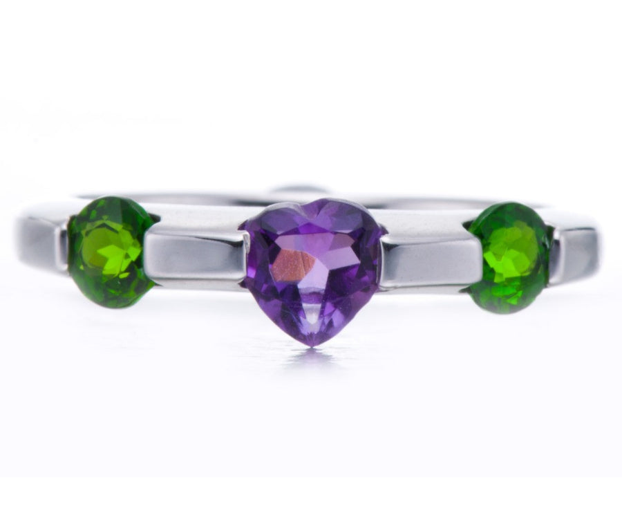 Amway Single Heart Amethyst Ring