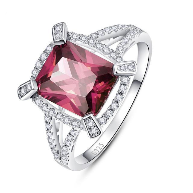 Sofia Square Red Garnet Ring