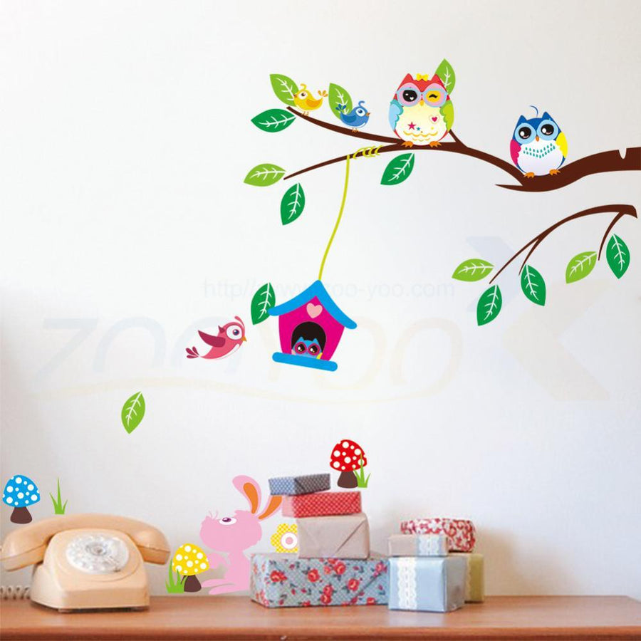 Owls Playing on Tree Wall Stickers