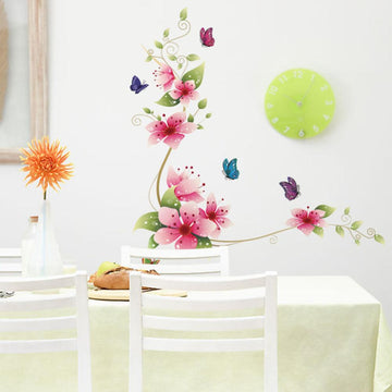 Flower & Butterfly Living Room Wall Sticker