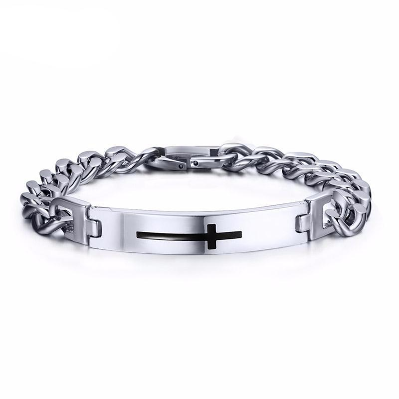 Cross Bangle Stainless Steel Bracelet