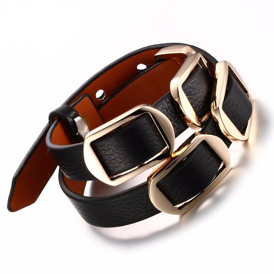 Alloy Buckle Leather Bracelet