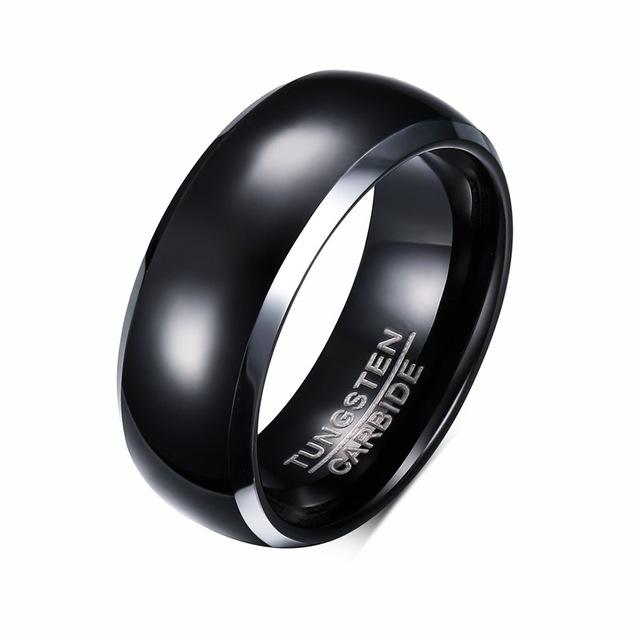 Wedding Gold & Black Tungsten Carbide Ring