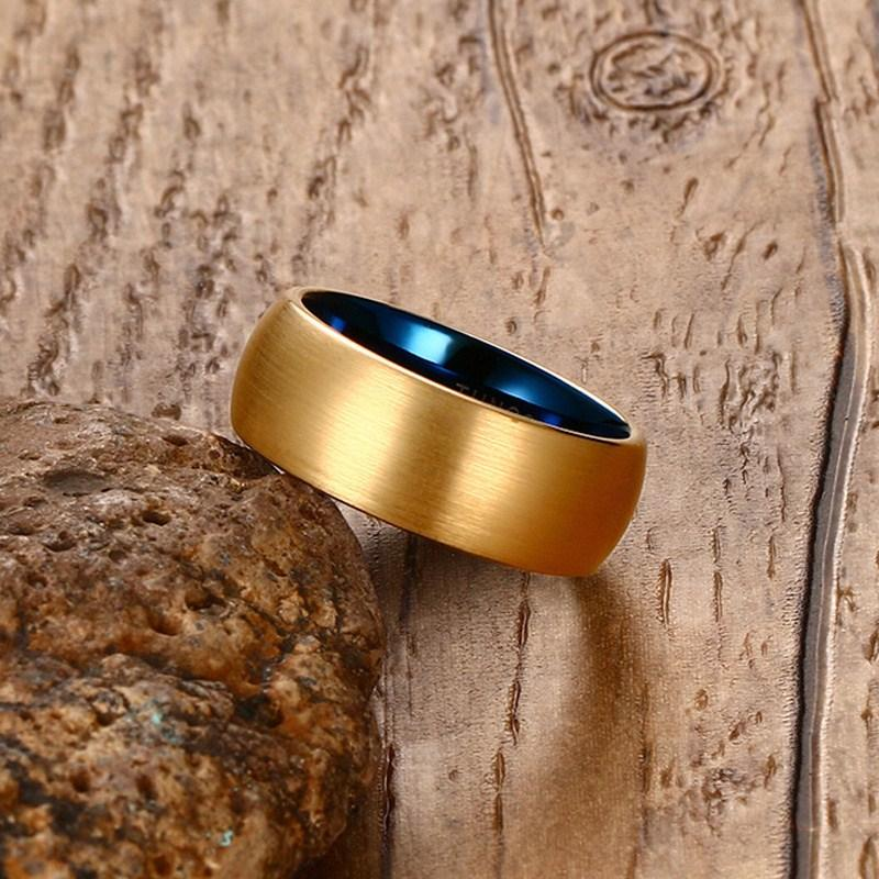 Classic Gold Inner Blue Tungsten Ring