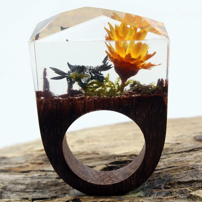 Orange Blossoms Secret Forest Wood Ring
